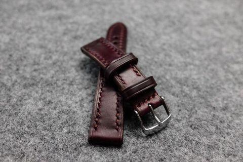 Horween Chromexcel Burgundy Leather Watch Strap
