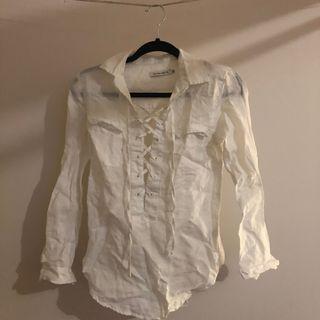Linen lace up shirt XS