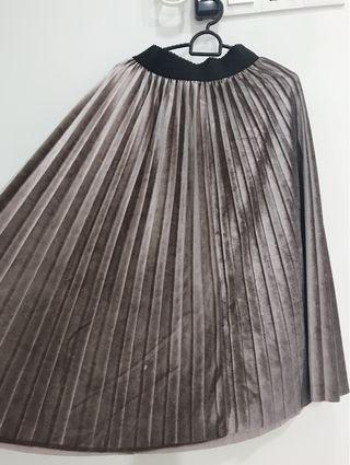 Beautiful Chrome Coffee Shining Color Long Skirt