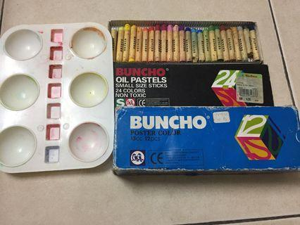 Buncho set with 24 oil pastels & 12 poster colour