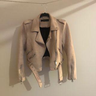 Zara pink suede biker jacket