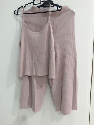 Romantic Sheer Pink Top and Pants Set- Comfortable Material