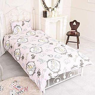 日本迪士尼 床上3件套 床單 被單 枕頭套 アリス/Alice/愛麗絲 粉紅色VER.