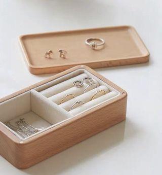 日本無印風木質耳環收納盒 旅行 家居 兩用 磁石開合 earring collection box 免費順豐自取