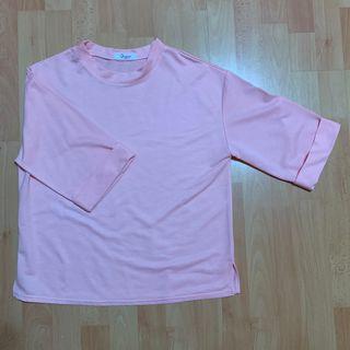 ulzzang coral pink half sleeve oversized top / shirt