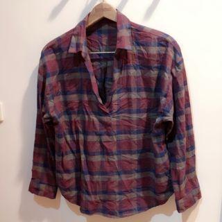 全新!日本帶回!VIS深酒紅紫格格紋襯衫