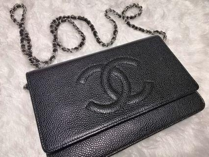 🚚 Chanel Wallet On Chain in Caviar (Black with SHW)