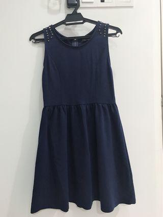 Blue Casual Dress with metal bids