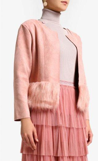 AinaHariz Fur Jacket in Dusty Pink