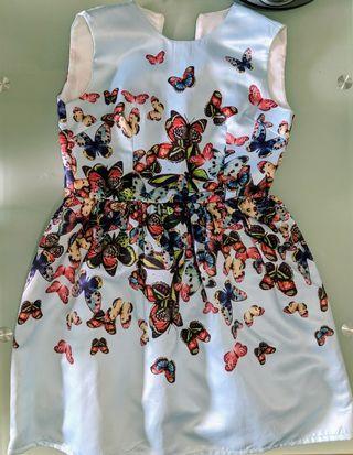 粉藍色底蝴蝶print連身裙 晚裝裙 grad din裙 River Blue butterfly print dress