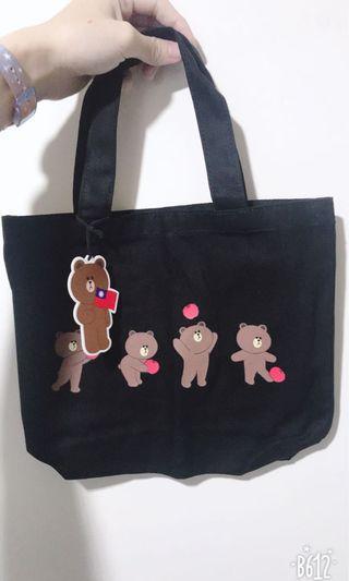 韓國Line friends 熊大蘋果小帆布袋、帆布包,台灣限定版