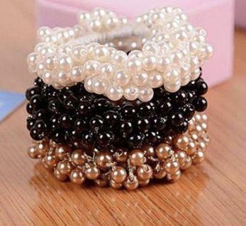 🚚 Fashion rope scrunchie ponytail holder faux pearl beads elastic hair band
