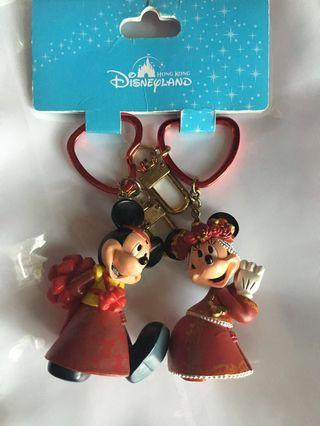 100% New Mickey and Minnie Mouse 米奇 米妮老鼠 迪士尼樂園 結婚紀念鎖匙扣 Wedding Keychain Hong Kong Disneyland