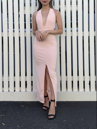 Pink plunge halter dress