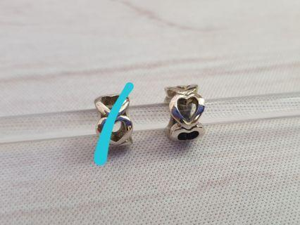 Sterling Silver Heart Spacers Charms fits Pandora