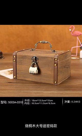 創意 保險箱 儲蓄 存錢罐 木箱 收藏盒 收藏秘密 密码箱带锁盒子