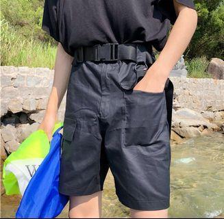 男生xl黑色工裝褲附皮帶尺寸不合沒穿過便宜賣200腰圍39cm褲長47cm