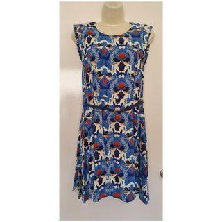 Size 12 more 10 Vgc Ladies Sunny Girl Mermaid print zip back blue dress + belt