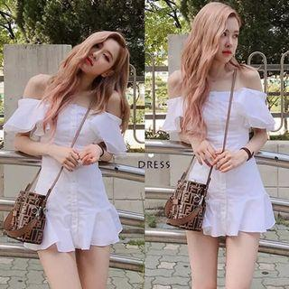 Rose BlackPink White Button Down Romper