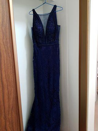 Women's Navy long evening gown/party/engagement Dress size S