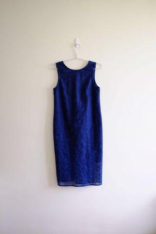 LB blue overlay midi dress