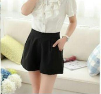 Korean High Waist Stylish Black Shorts Pants