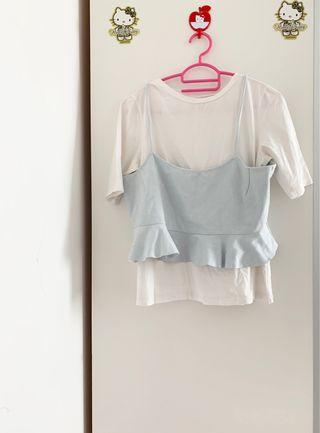 LALU baby blue white TOP / blouse