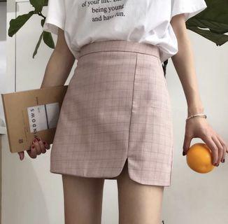 PO pastel checkered a line skirt