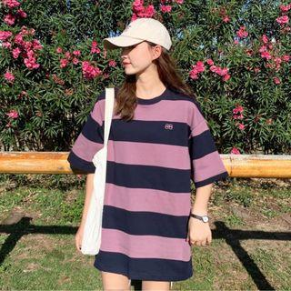 Ulzzang Loose Casual Striped Short Oversized Tshirt