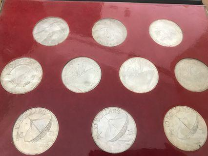 1972 to 1980 $10 silver Eagle ship satellite Coin complete set
