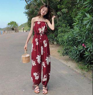 Red floral long pants 紅色花花連身長褲 度假 vacation holiday