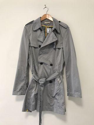 DKNY Grey Nylon Short Trench Coat
