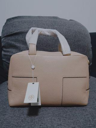 Tory Burch Block-T Pebbled Zip Leather Satchel