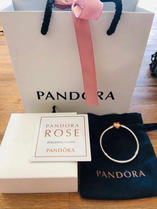 Pandora Moments silver bracelet with rose gold pave heart clasp size 17