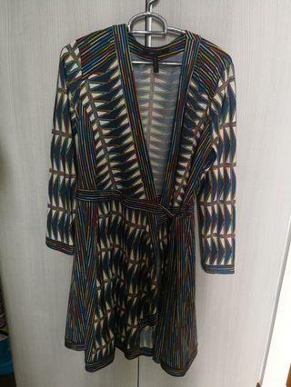 Bcbg multi colour striped wrap dress