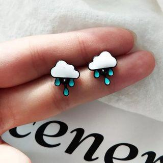 Vintage Black Color Clouds Water Stud Earrings