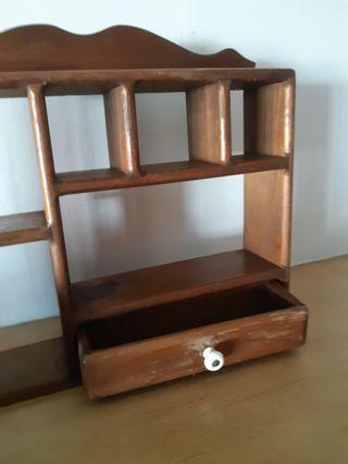🚚 2 units of small teak wood wall display unit