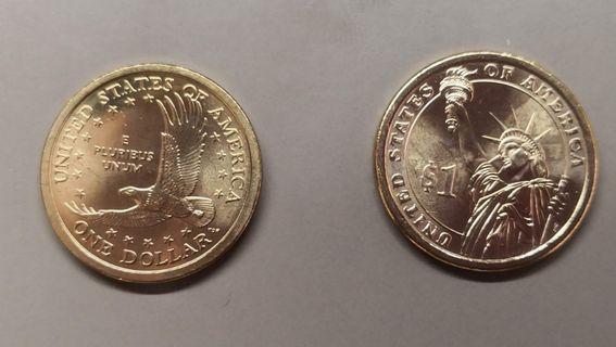 全新金色1美元硬幣兩款各1個