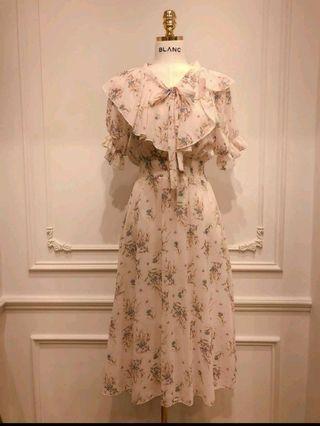 🚚 韓國BLANC前面綁帶碎花洋裝