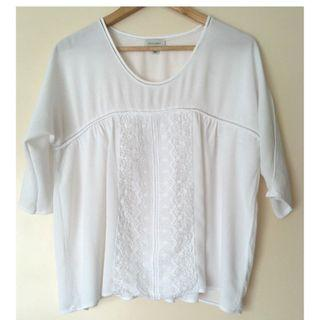 WITCHERY white crochet front top Size 8