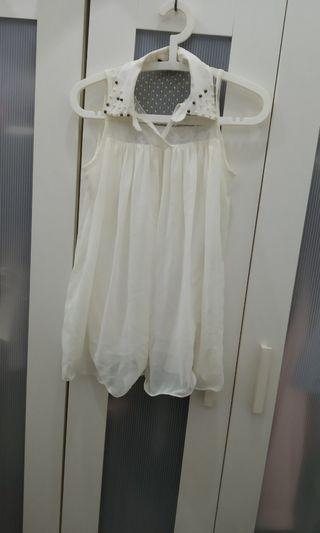 Chiffon white lace flowy sleeveless
