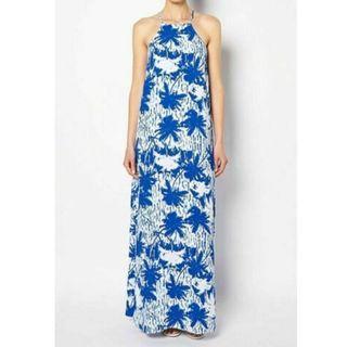 WITCHERY white & blue high neck cutaway maxi dress Size 8