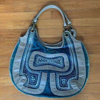 Boho Chic Velvet Blue Handbag