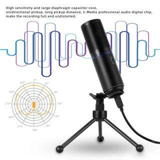 USB Studio Condenser Microphone with Tripod for Recording Broad
