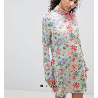 【現貨在台】英國ASOS Glamorous 中式旗袍印花高領長袖洋裝 / UK8