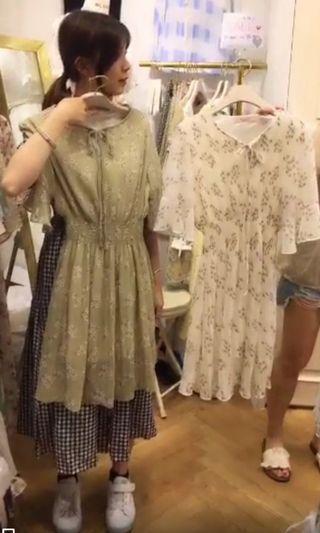 🚚 韓國BLANC淺草綠胸前綁帶洋裝
