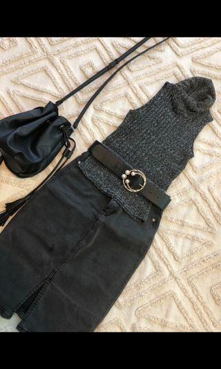Turtle neck grey marl sleeveless knit
