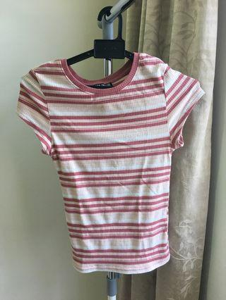 Cotton On Crew Neck Striped Rose Pink, Peach, and White Top
