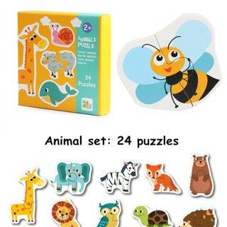 🚚 Classic Wooden Cognition Matching Puzzle - Animal Bee Giraffe Elephant Lion Zebra Fox Bear Owl Turtle Cow Pig Sheep Rabbit Whale Crab Starfish
