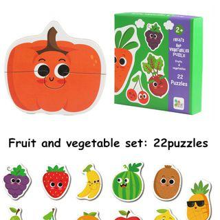 Classic Wooden Cognition Matching Puzzle - Fruit and Vegetable Set - Grapes Strawberry Banana Watermelon Pineapple Pear Cherry Apple Pumpkin Potato Carrot